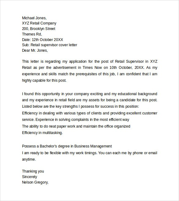 cover letter template retail  FREE 8+ Retail Cover Letter Templates in PDF | MS Word - cover letter template retail
