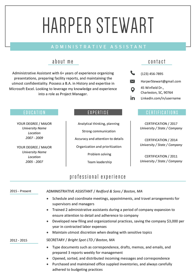 resume template for word  Free Creative Resume Templates & Downloads | Resume Genius - resume template for word
