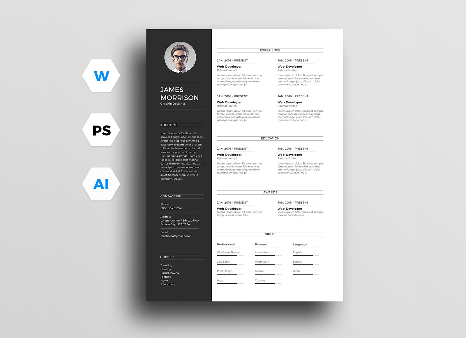 resume template how to create a resume on word  Free Minimal CV Resume Template In Word, Ai & PSD - Good ..