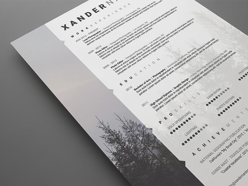 resume template language skills  Free Modern Swiss Style Resume / CV PSD Template   Cursive ..