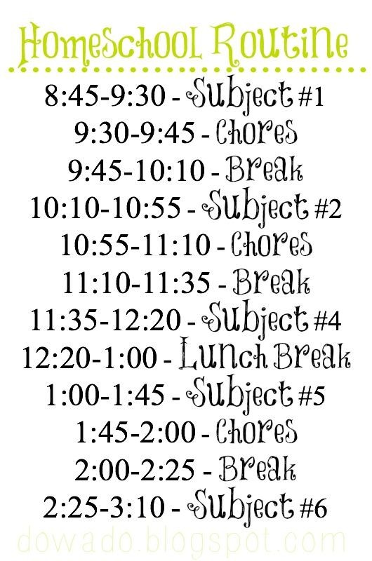 5th grade schedule template  Free Printable Homeschool Routine on www.dowado.blogspot ..