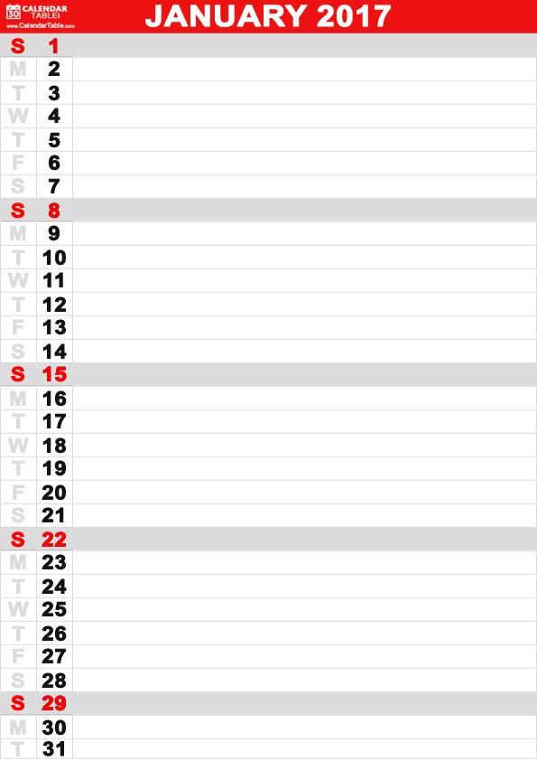 blank calendar template vertical  Free Printable January 2017 Calendar - CalendarTable