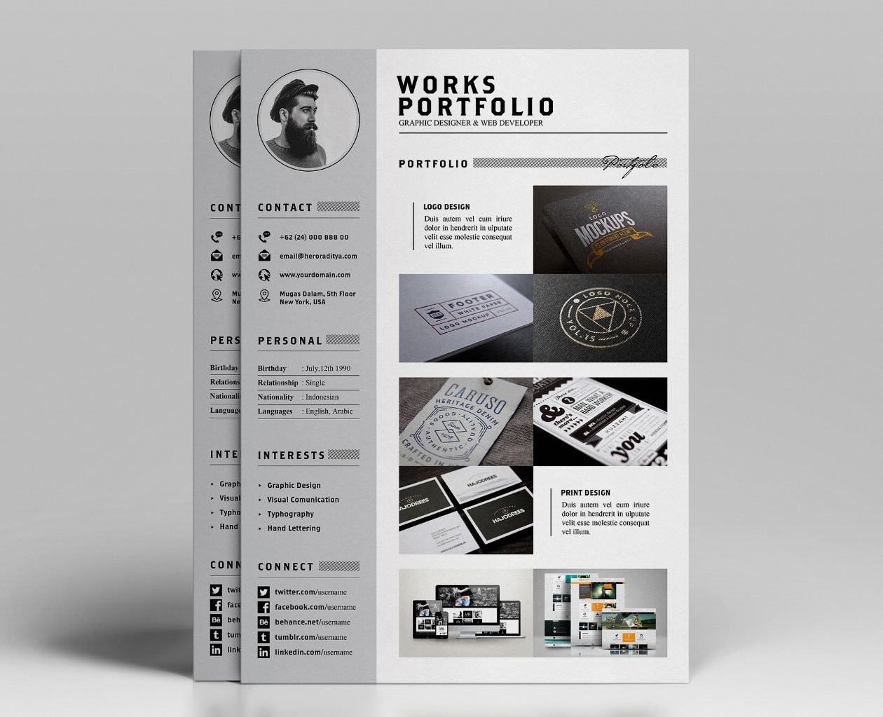 resume template builder Free Resume, CV and Portfolio Template in Photoshop (PSD ...