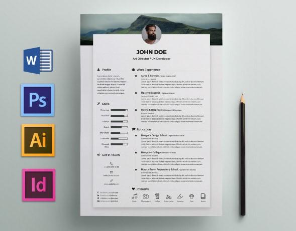 resume template language  Free Resume / CV Template on Behance - resume template language