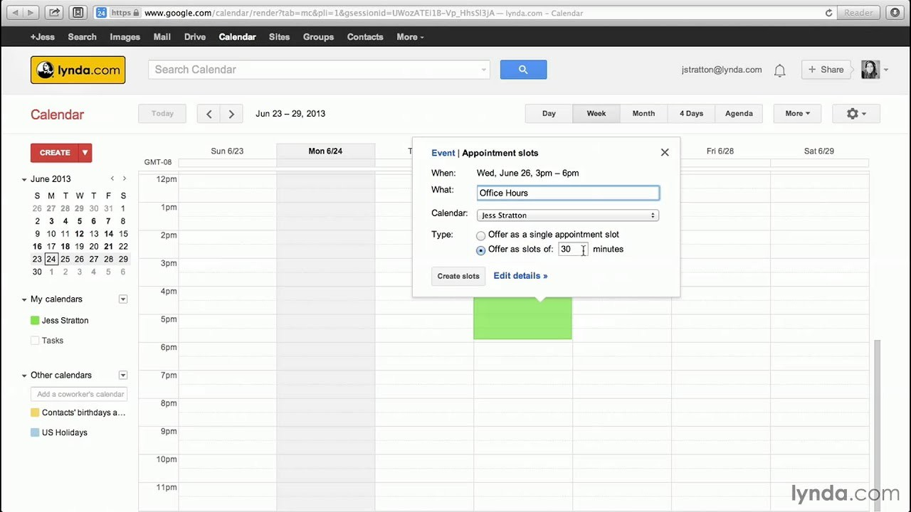 calendar template with time slots  Google Calendar tutorial: Creating appointment slots ..