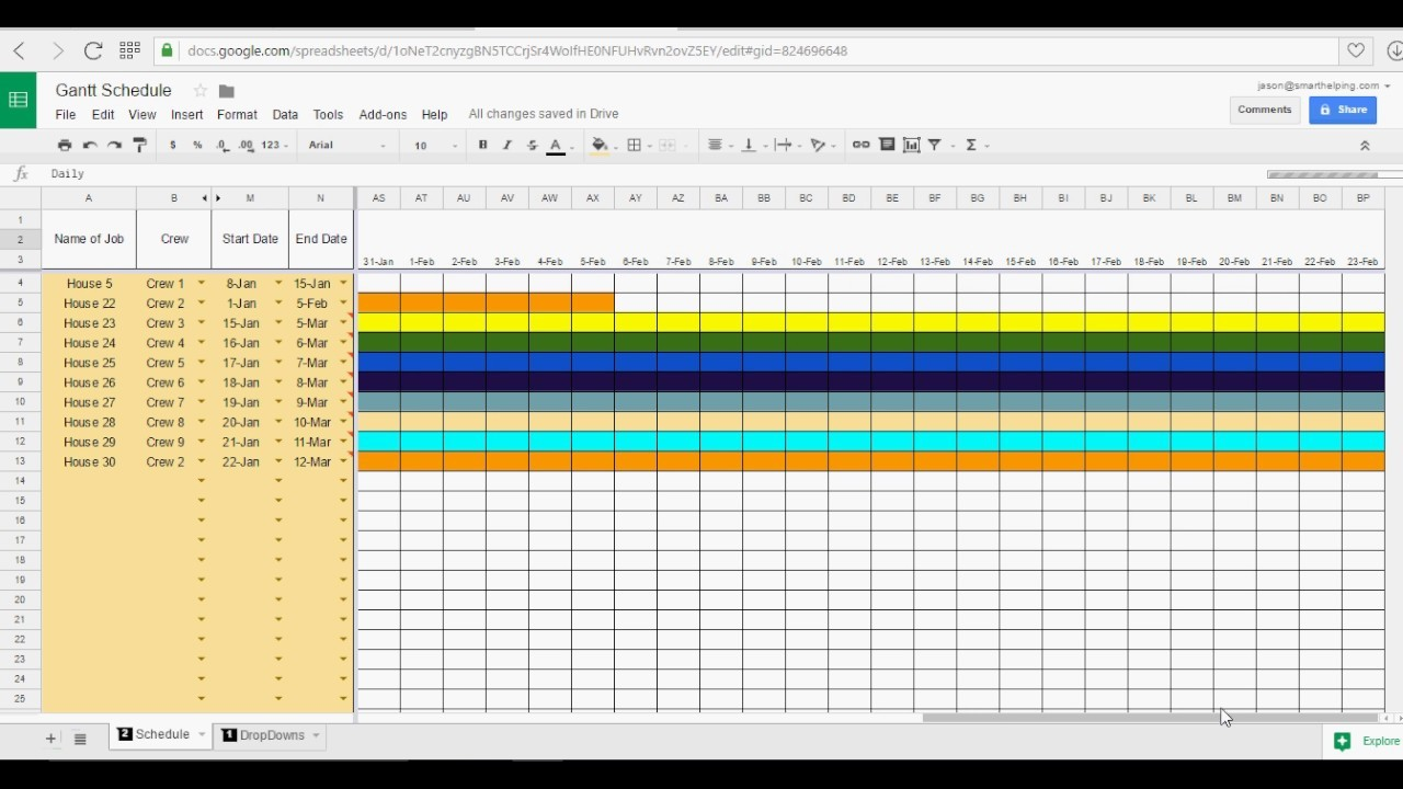 schedule template google sheets  Google Sheets Gantt Chart - YouTube - schedule template google sheets