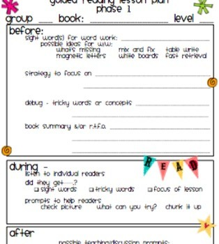 5th grade schedule template  Guided Reading Lesson Plan Template Easy to follow Cute ..