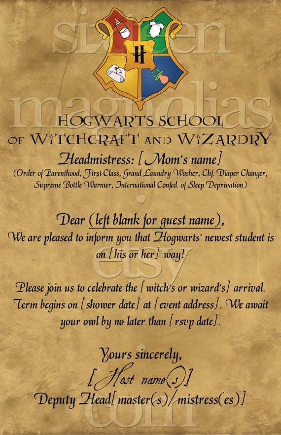 harry potter letter template  Harry Potter Baby Shower Invitations - Party XYZ - harry potter letter template