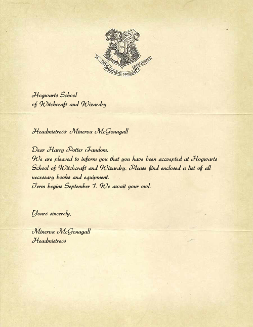 hogwarts acceptance letter template  Harry Potter Congratulations Quotes