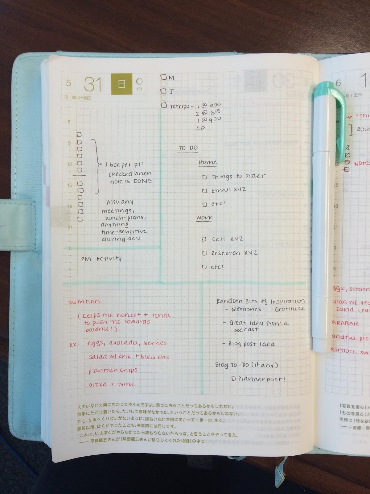 calendar template birthday  Hobonichi Planner: Daily Template - The Shu Box - calendar template birthday