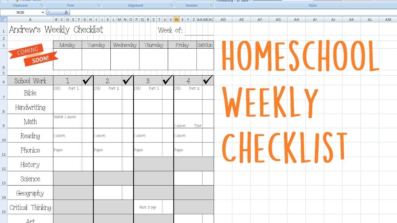 kindergarten daily schedule template  Homeschool Weekly Checklist - YouTube - kindergarten daily schedule template