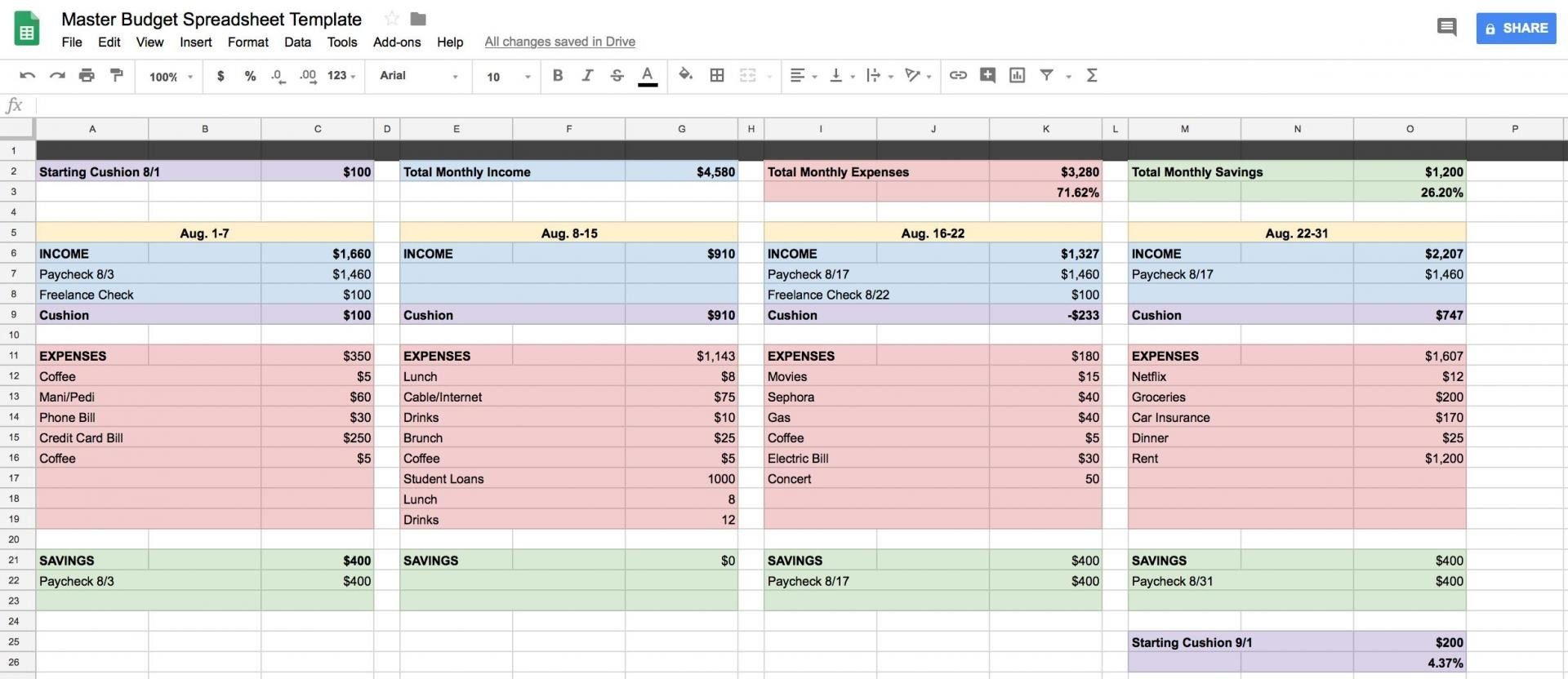 budget template google sheets  How To Create A Budget Spreadsheet In Google Sheets - budget template google sheets