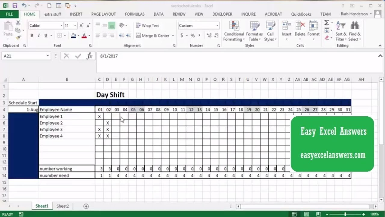schedule template excel  How to create a work schedule in Excel - YouTube - schedule template excel