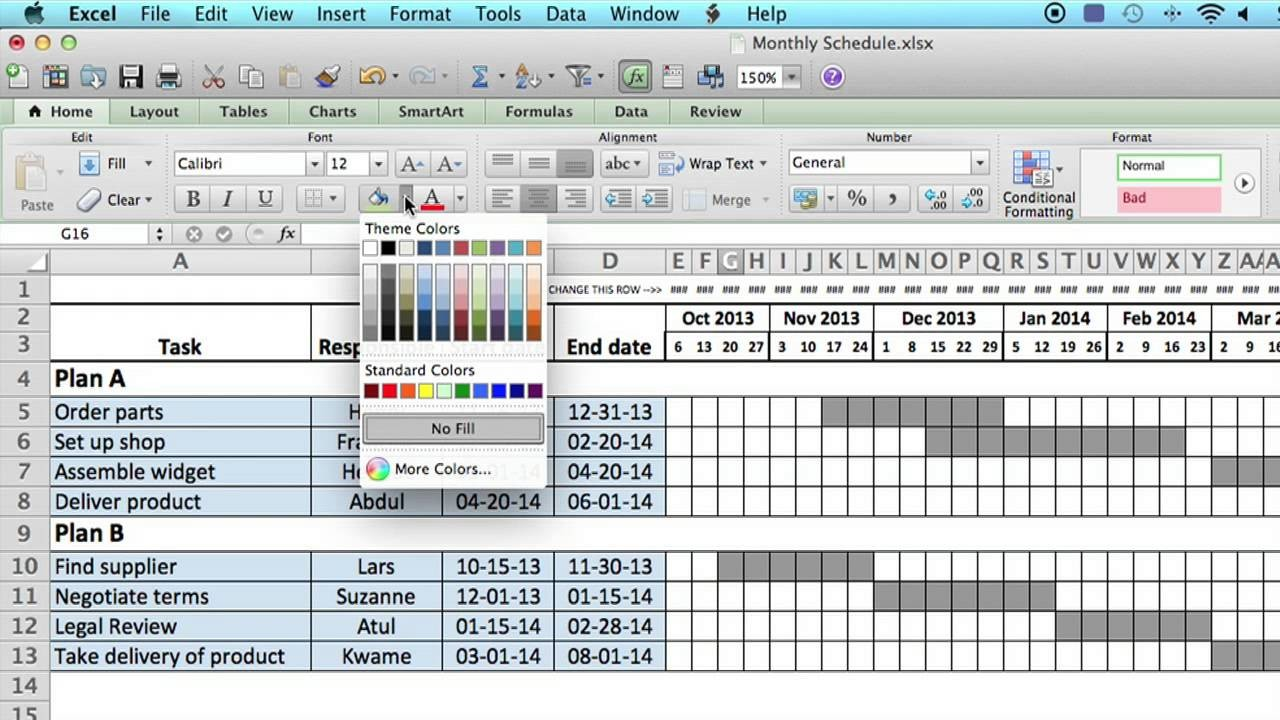schedule template excel  How to Use a Monthly Schedule in Microsoft Excel : Using ..