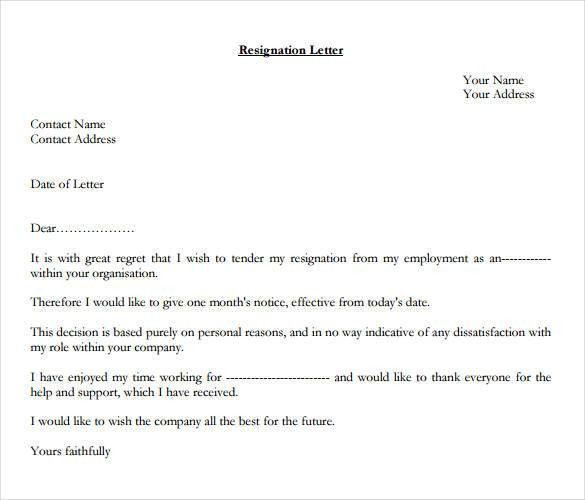 1 week notice letter template  How to Write a Professional Resignation Letter | Free ..
