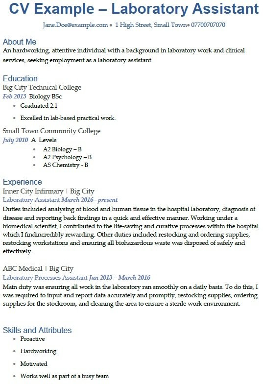 cover letter template uk  Laboratory Assistant CV Example - icover.org
