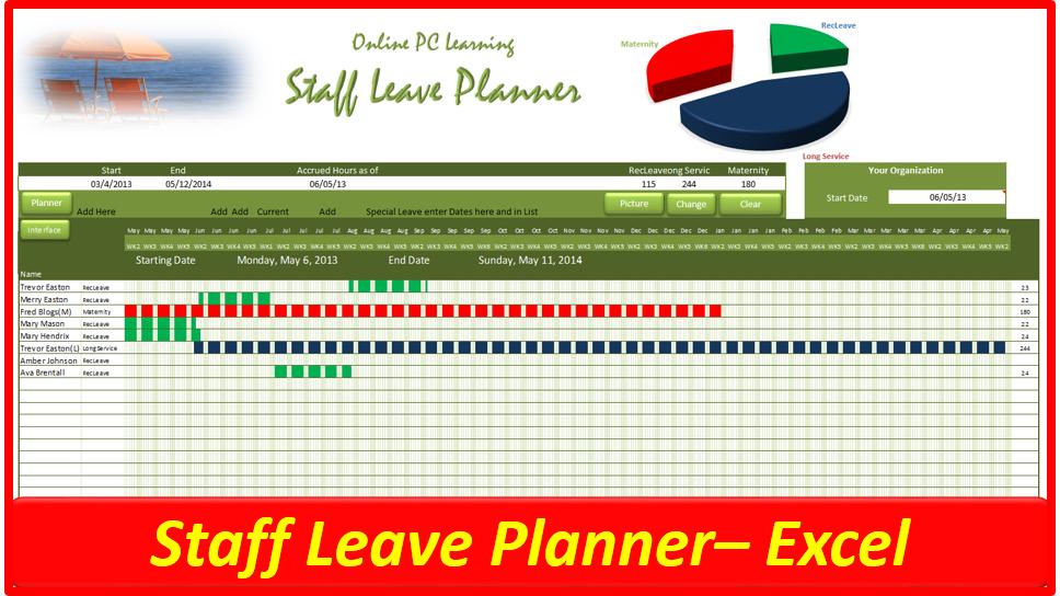 team vacation calendar template  Leave Planner - Staff Leave Planner - Online PC Learning - team vacation calendar template