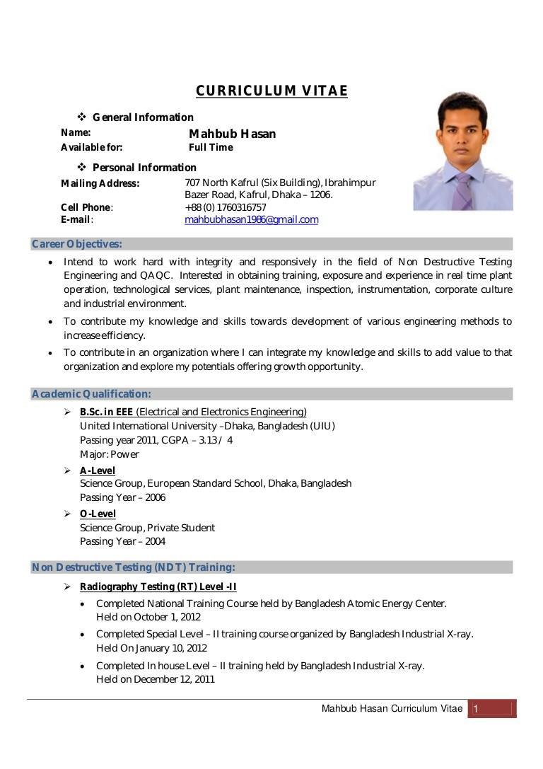 resume template examples  Mahbub Hasan Curriculum Vitae Updated - Copy - resume template examples