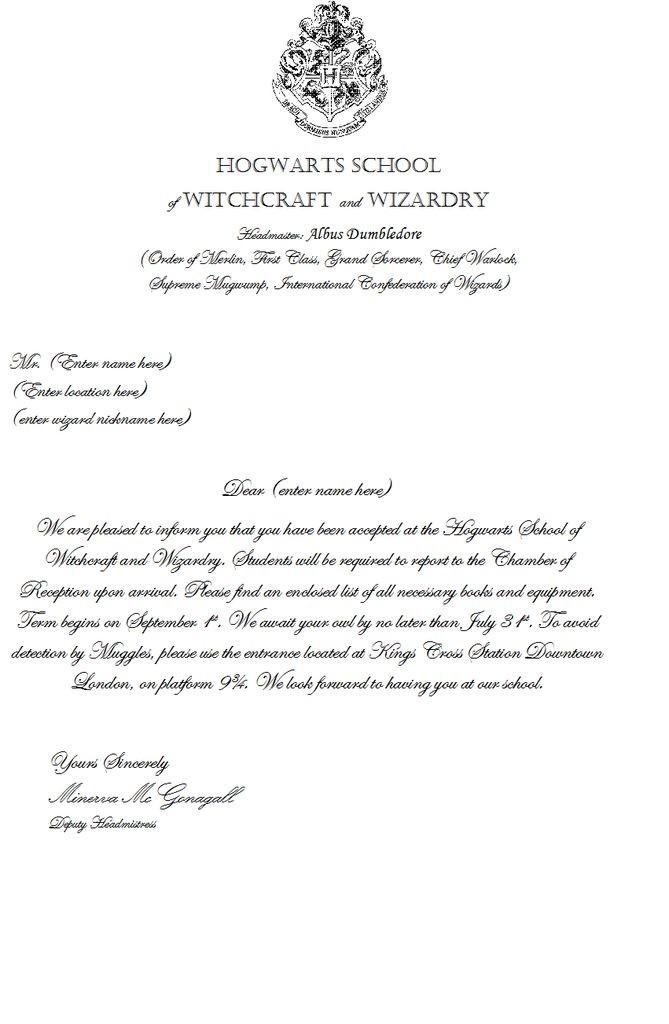 hogwarts acceptance letter template  Make Your Own Hogwarts Acceptance Letter - hogwarts acceptance letter template