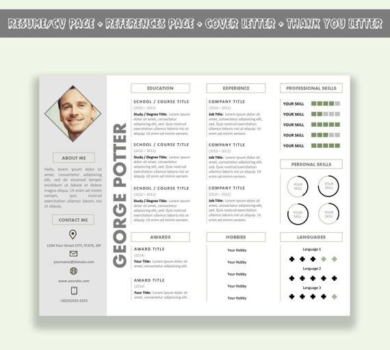resume template unique  Modèle de CV Horizontal Microsoft Word / CV modèle Pack | Etsy - resume template unique