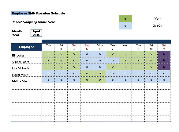 6 week rotating schedule template  Monthly Employee Shift Schedule Template – printable ..