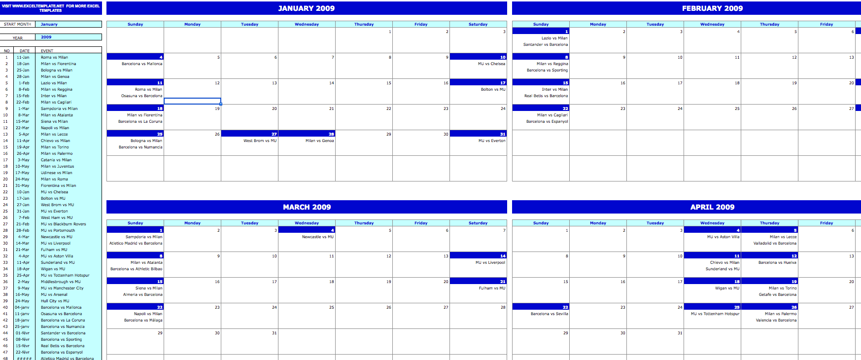 2 month calendar template  Monthly Event Calendar » ExcelTemplate