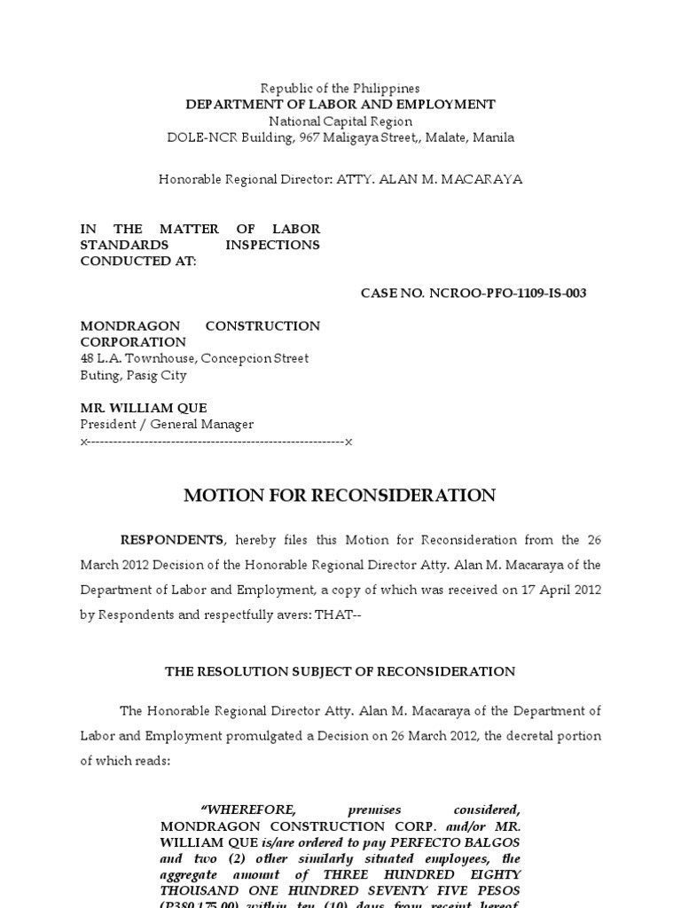 capital letter m template  Motion for Reconsideration DOLE NCR Mondragon Construction ..