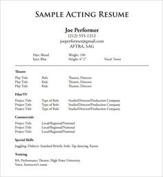 kid actor resume template  Musical Theatre Resume Template , The General Format and ..