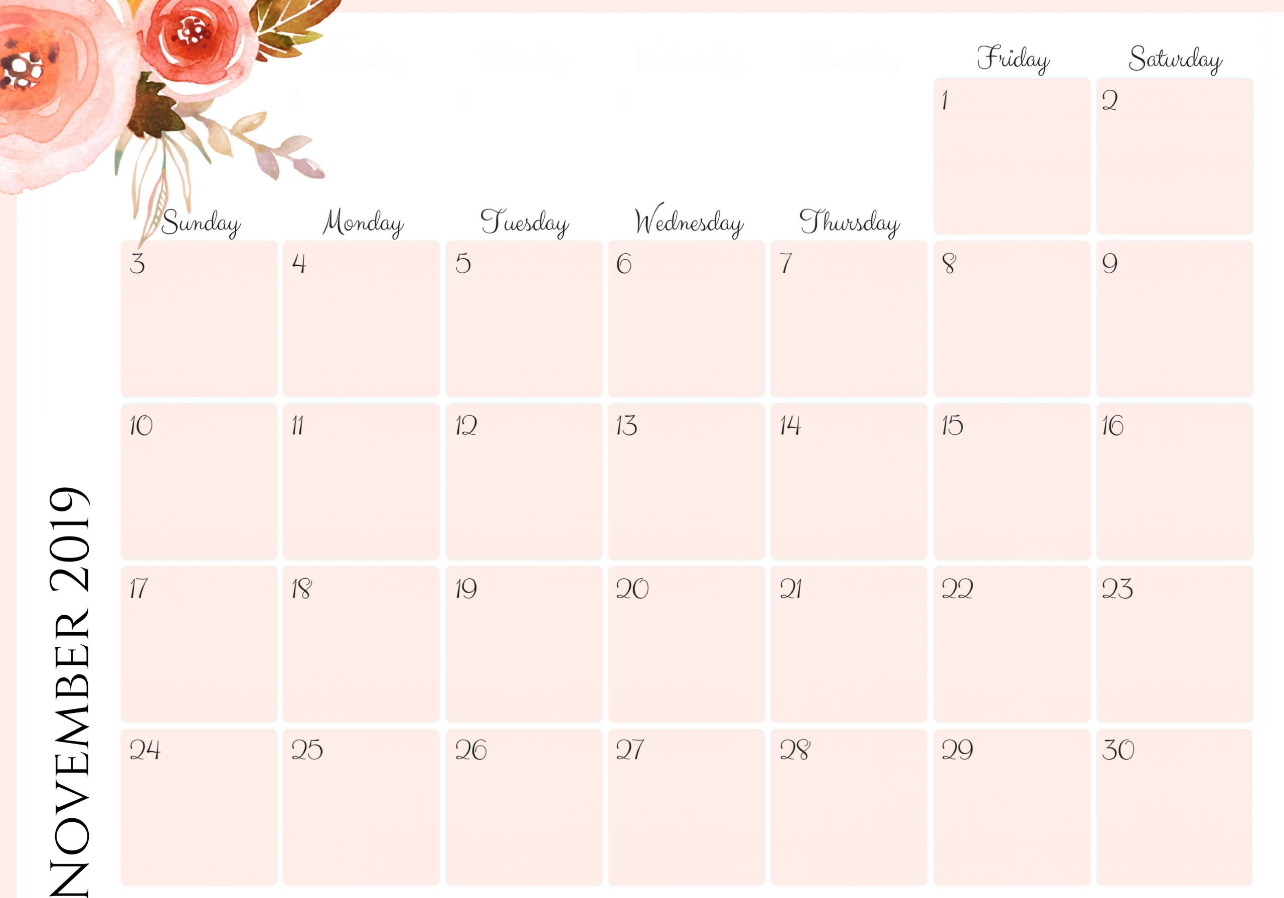 calendar template 2020 word  November 2019 Calendar Printable Monthly Datesheet ..