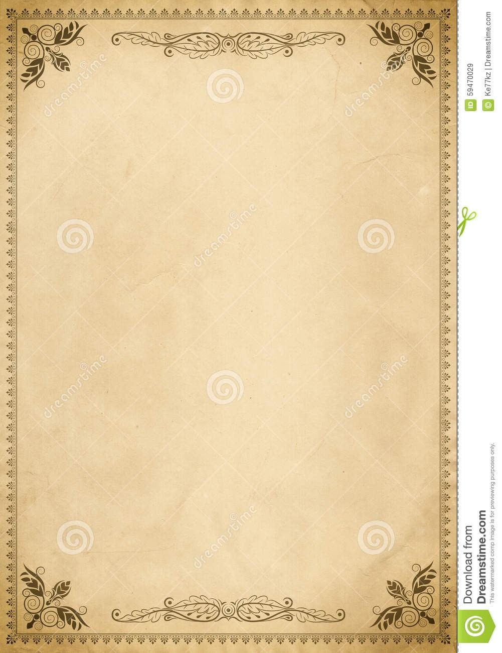 letter template old fashioned  Old Paper Background With Vintage Border. Stock ..