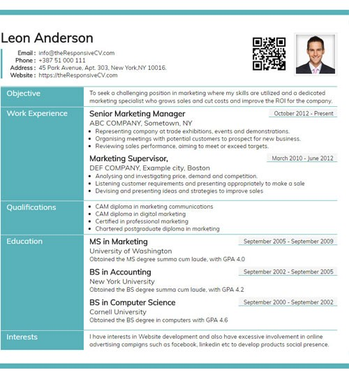 resume template builder  Online CV Builder with Free Mobile Resume and QR Code ..