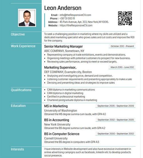 resume template gray  Online CV Builder with Free Mobile Resume and QR Code ..