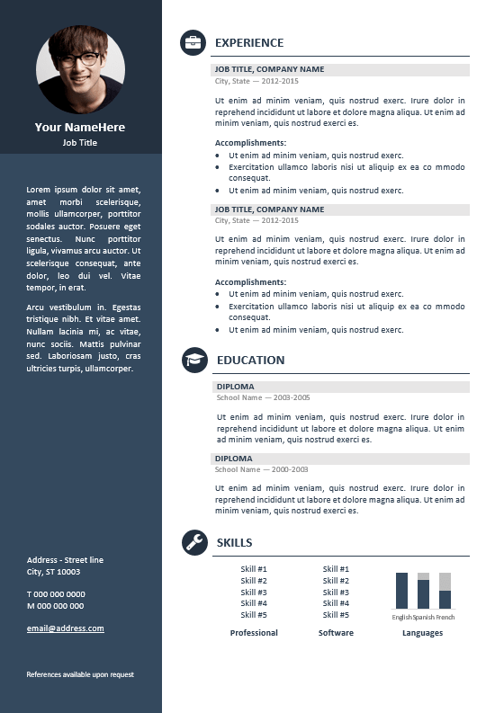 resume template gray  Orienta - Free professional resume CV template - Blue ..