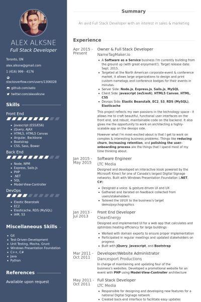 resume template latest  owner & full stack developer Resume Example | Resume | Web ..