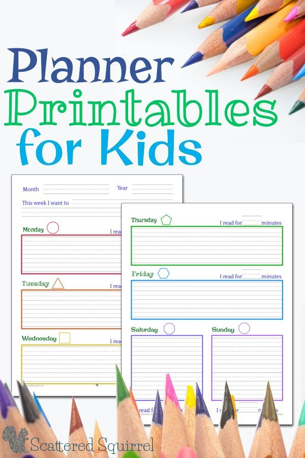 kindergarten daily schedule template  Planner Printables for Kids | Student planner printable ..