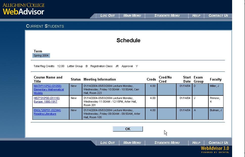 class schedule template tumblr  Preregistering in WebAdvisor « Registrar | Allegheny ..