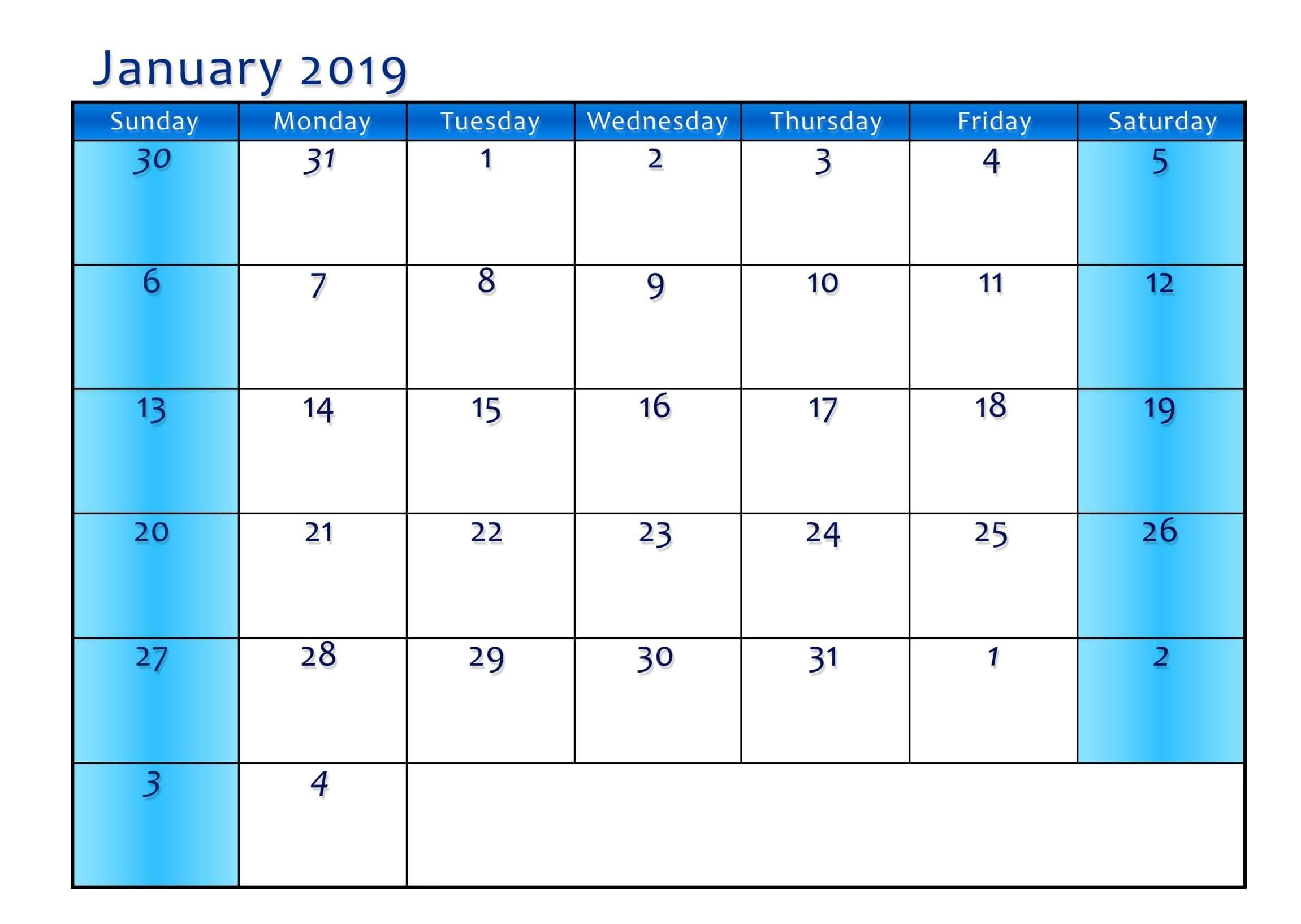 blank calendar template vertical  Print Calendar January 2019 Fillable Template - blank calendar template vertical