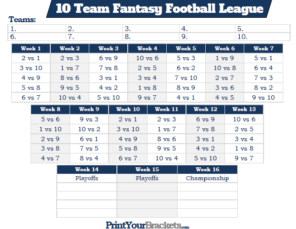 6 team league schedule template  Printable 10 Team Fantasy Football League Schedule - 6 team league schedule template