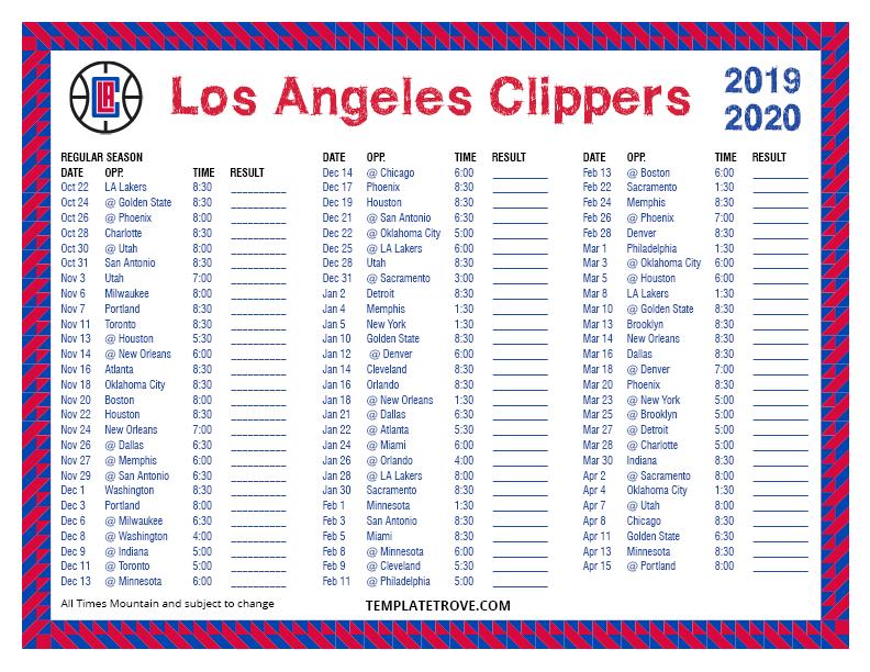 calendar template 2020 word  Printable 2019-2020 Los Angeles Clippers Schedule - calendar template 2020 word
