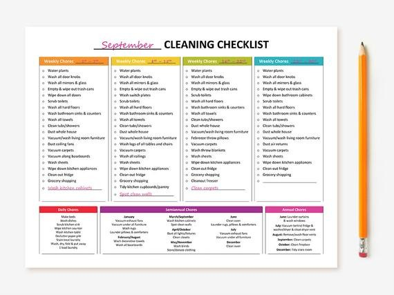 janitorial cleaning schedule template  Printable Monthly Cleaning Checklist - janitorial cleaning schedule template