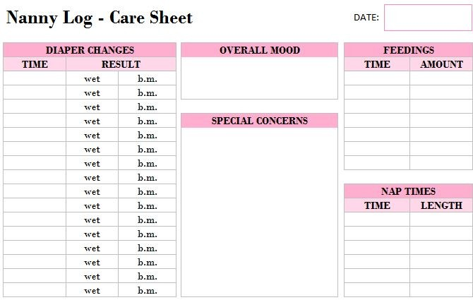 baby schedule template for nanny  Printable Nanny Log Template - My Excel Templates - baby schedule template for nanny