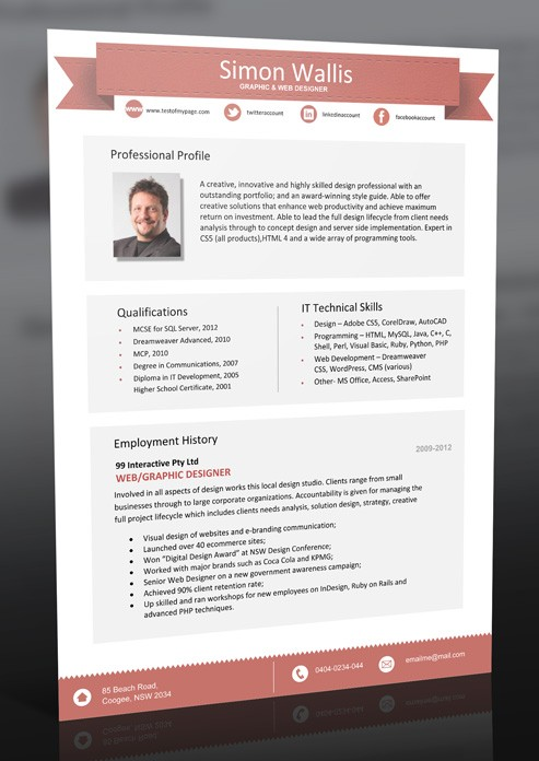 resume template 1 page  Professional Resume Format Download - resume template 1 page