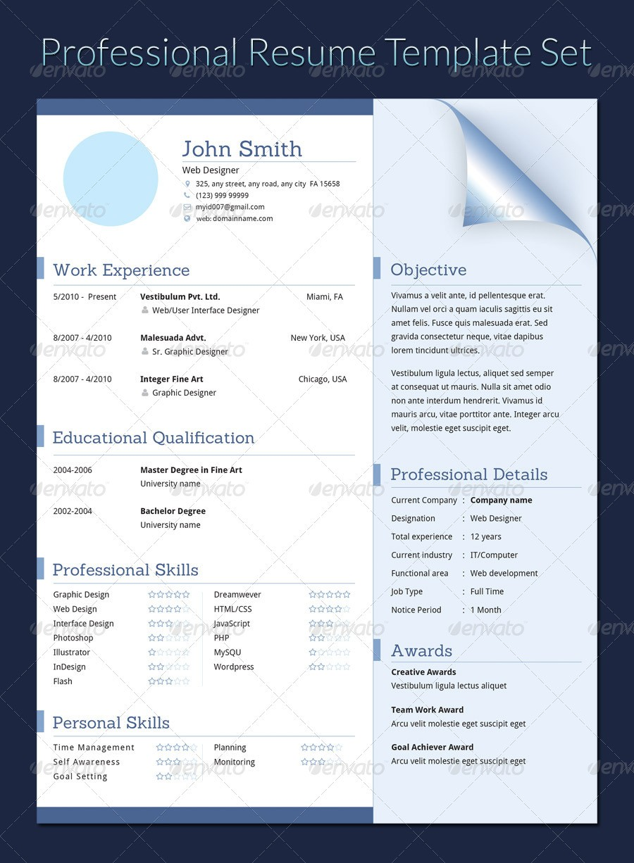 resume template gray  Professional Resume Template Set by khatrijiya | GraphicRiver - resume template gray