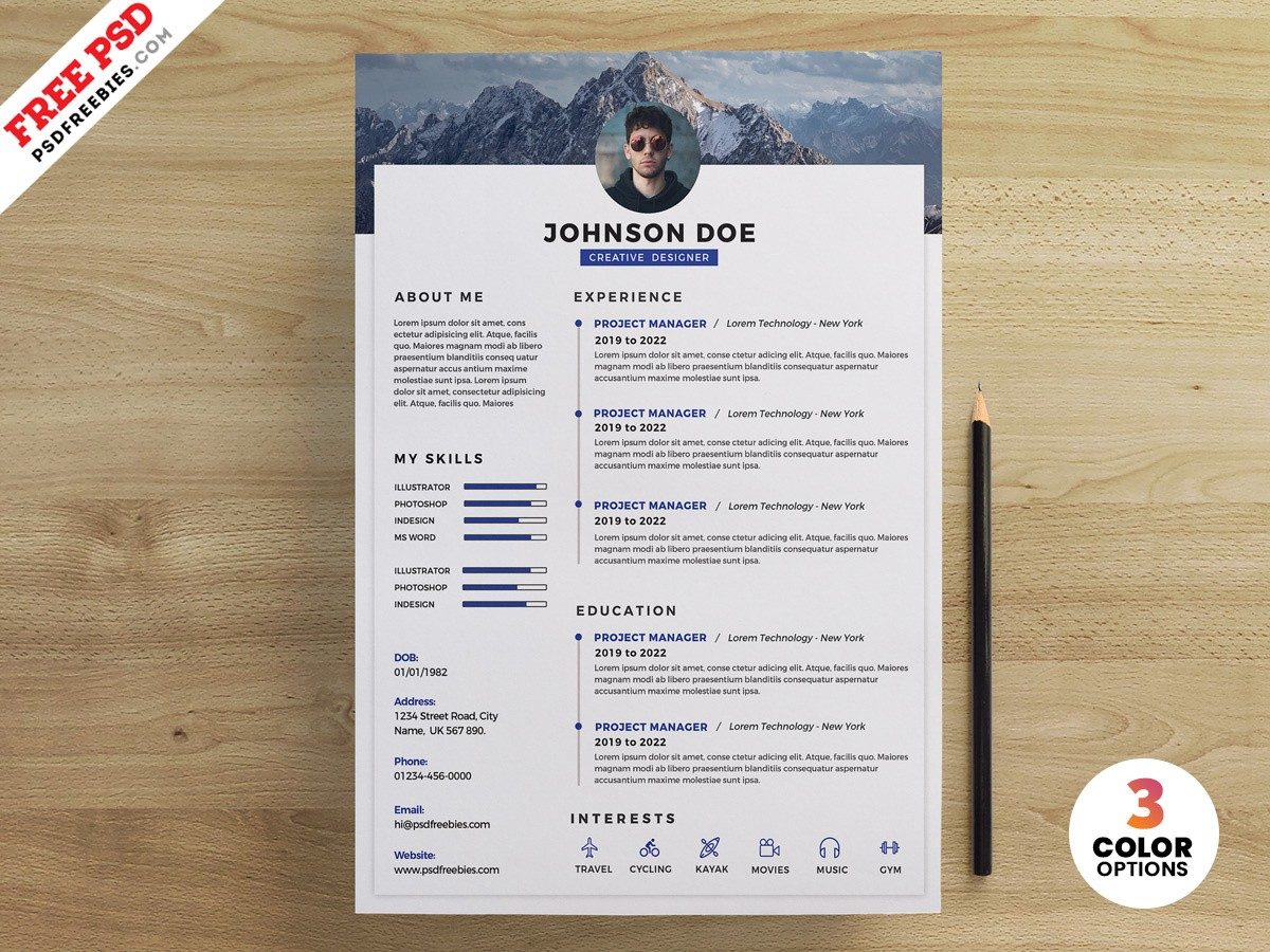 resume template unique PSD Clean Resume Design Templates by PSD Freebies on Dribbble