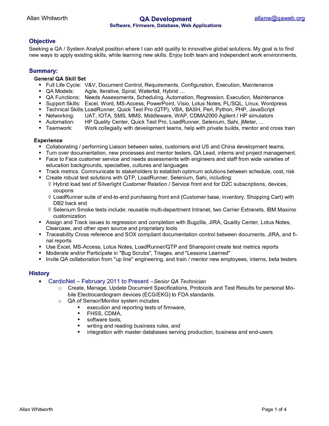 qa resume template  Qa Analyst Resume – printable planner template - qa resume template