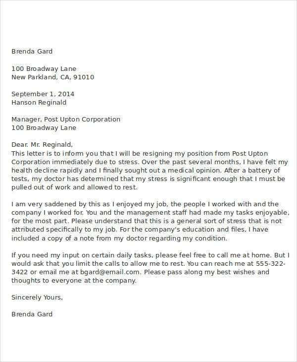 resignation letter template health reasons Resignation Letter Due To Health Condition - Cover letter ...