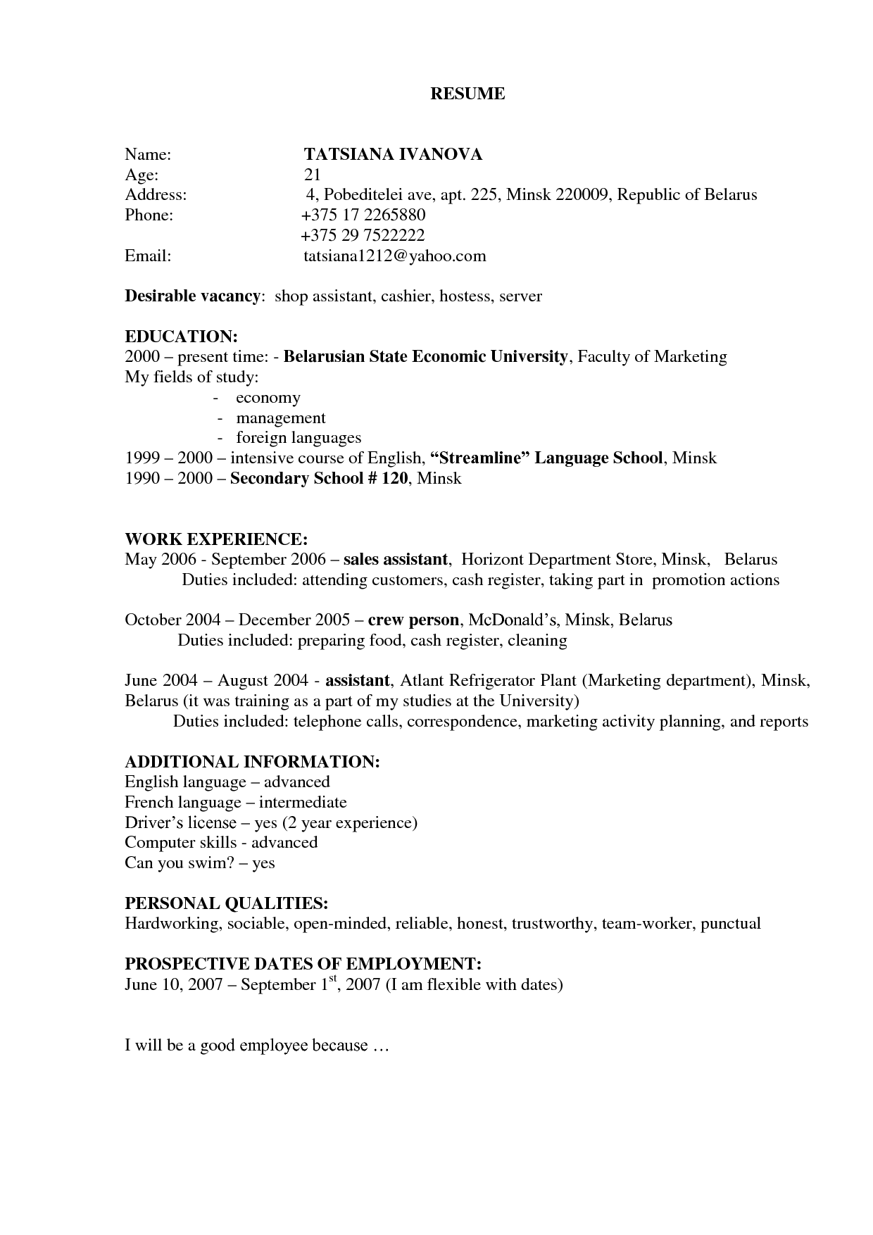 resume template no work experience  Resume. Example Of General Construction Resume Templates ..