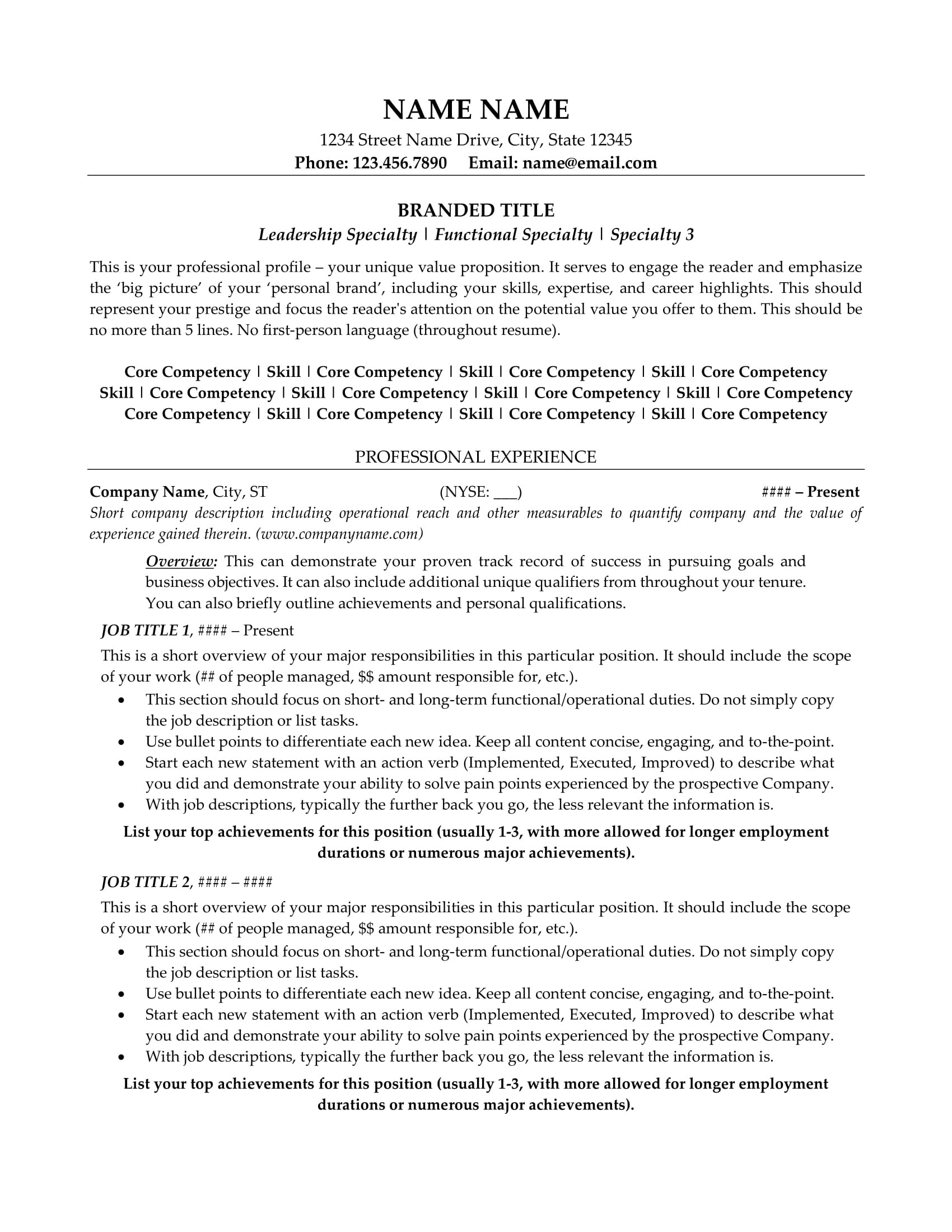 young professional resume template  Resume Example, Resume Sample, All-Level Resumes, Resume ..