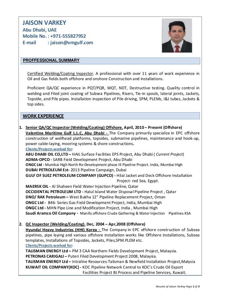 resume template qa engineer  Resume of jaison varkey, QA/QC inspector welding,coating ..
