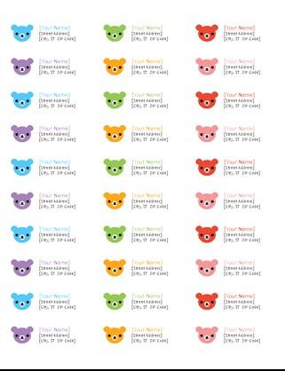 avery 18660 template  Return address labels (Rainbow Bears design, 30 per page ..